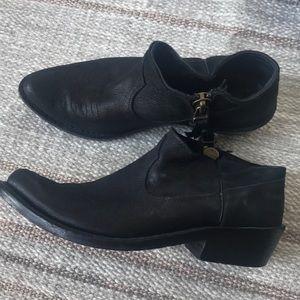 Anine bing black western low booties black leather